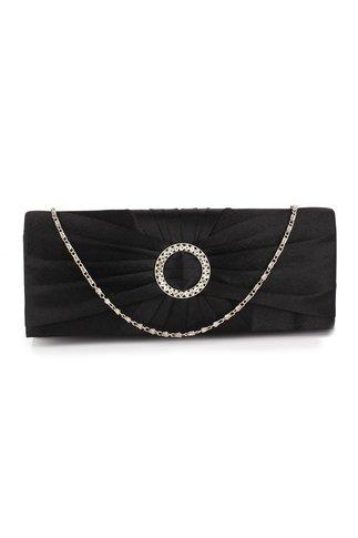 Clutch Frilly negru  accesorizat cu detaliu argintiu cu strasuri