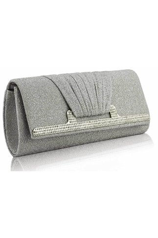 Clutch Silver accesorizat cu fir lurex argintiu si strasuri stralucitoare