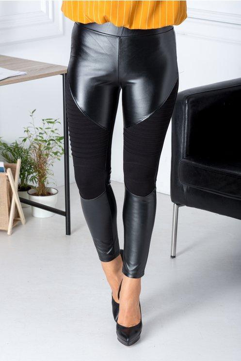 Colanti negri din piele ecologica si insertii la genunchi