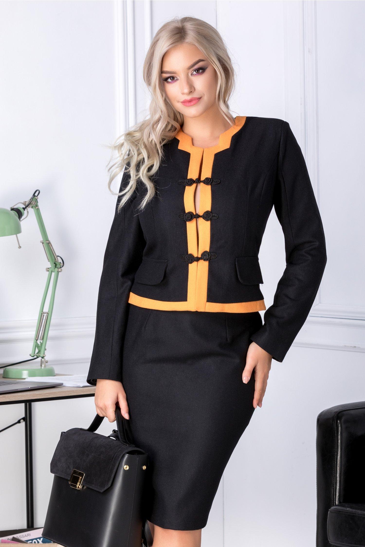 Compleu Clarisa negru cu benzi orange