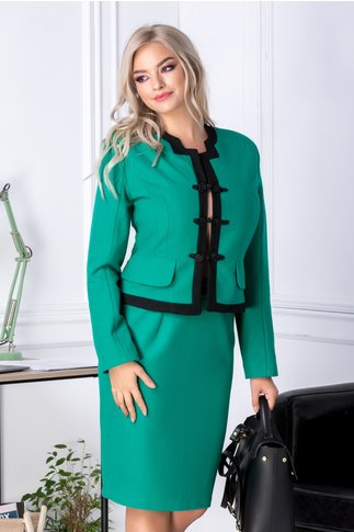 Compleu Clarisa verde cu benzi negre