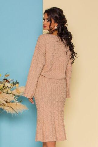 Compleu dama bej tricotat cu bluza si fusta midi
