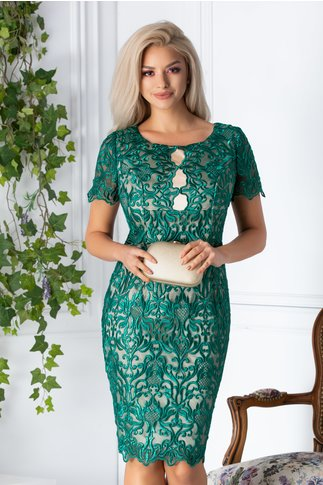 Compleu dama cu rochie din broderie si sacou verde