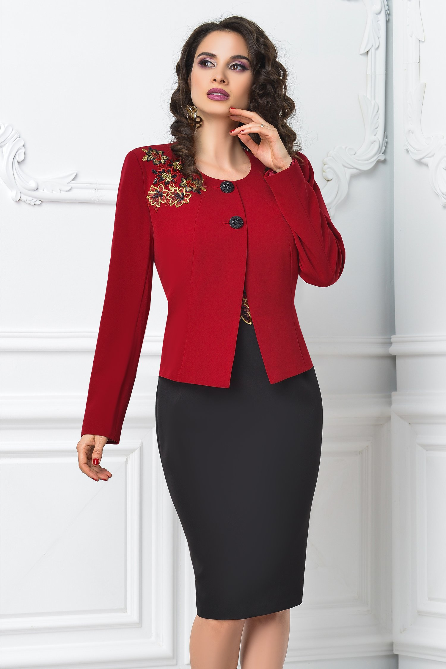 Compleu dama din 2 piese rosu negru cu rochie