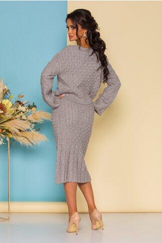 Compleu dama gri tricotat cu bluza si fusta midi