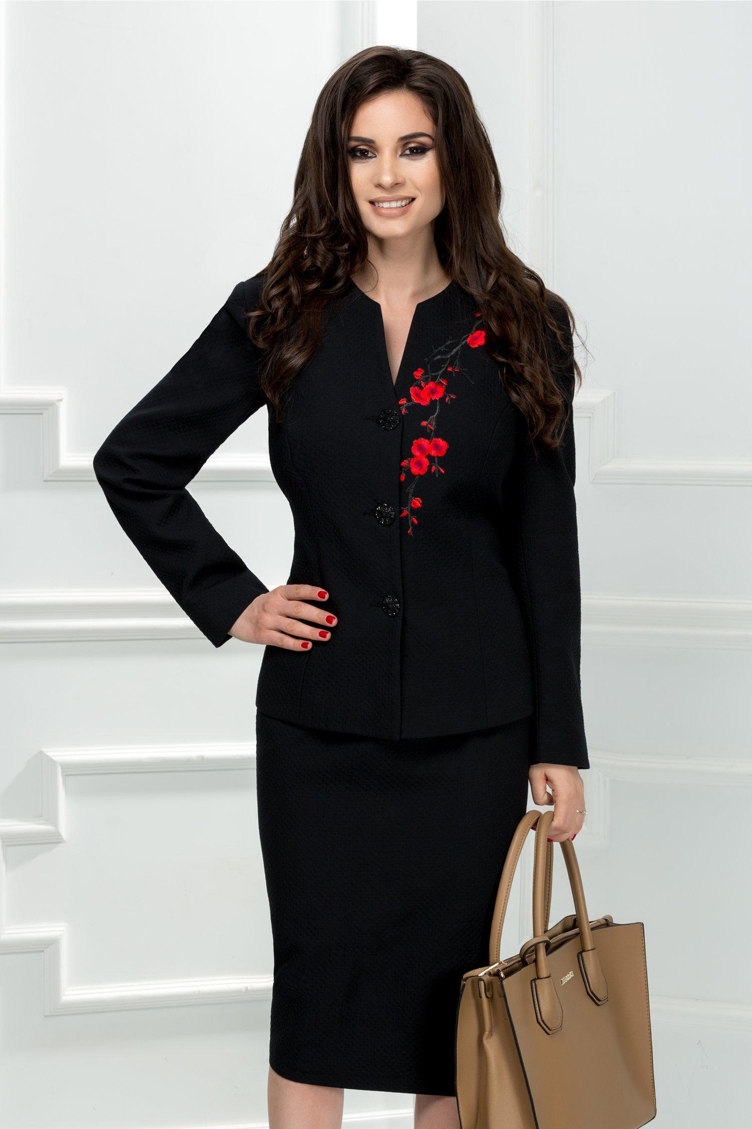 Compleu dama negru office cu broderie rosie