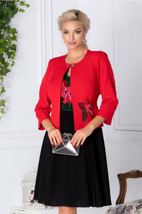 Compleu dama negru si rosu cu broderie florala