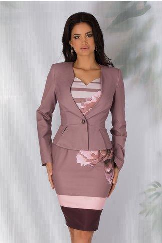 Compleu de dama lila cu imprimeu pe rochie