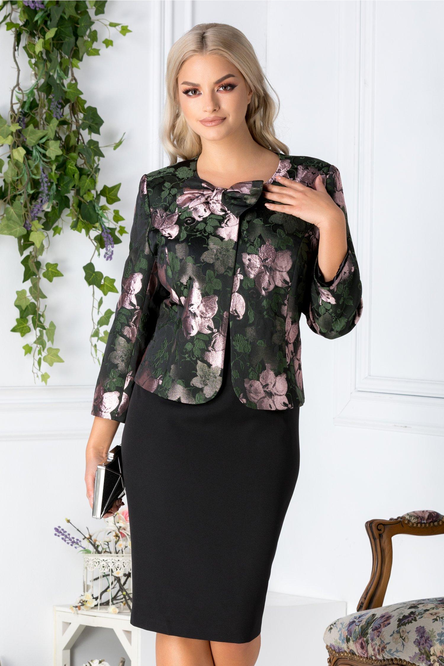 Compleu Deny cu rochie neagra si sacou cu imprimeu roz