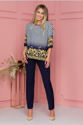 Compleu Diana bleumarin cu pantaloni si bluza cu imprimeu galben