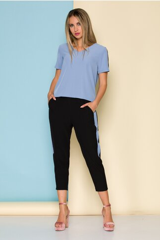 Compleu Ella Collection Valeria cu top bleu si pantaloni negri