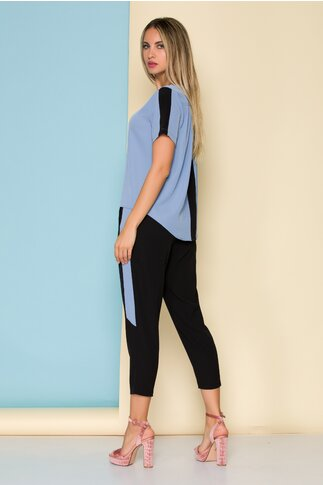 Compleu Ella Collection Valeria cu top bleu si pantaloni negri