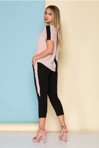 Compleu Ella Collection Valeria cu top roz si pantaloni negri