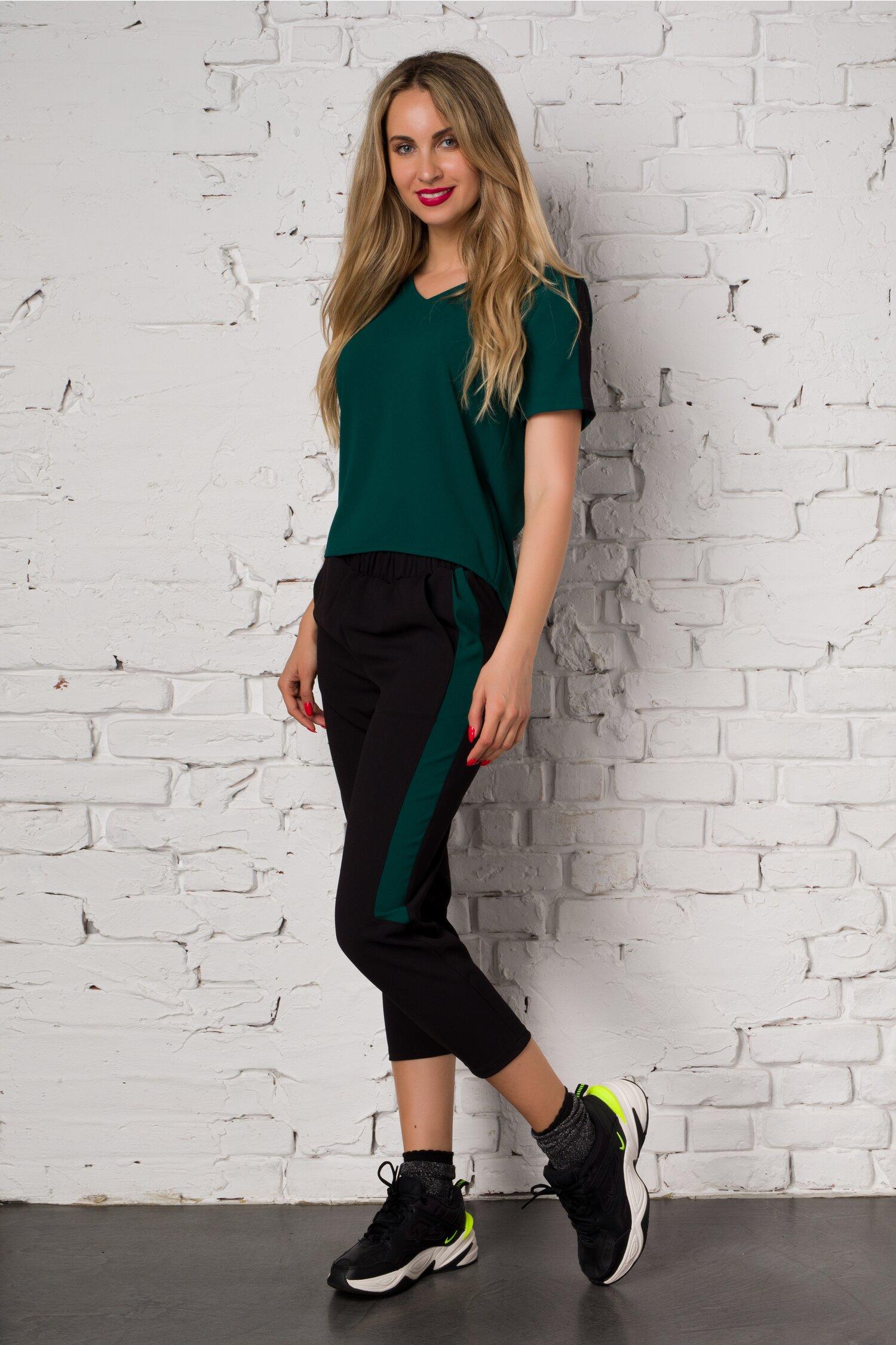 Compleu Ella Collection Valeria cu top verde si pantaloni negri