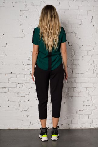 Compleu Ella Collection Valeria cu top verde si pantaloni negri