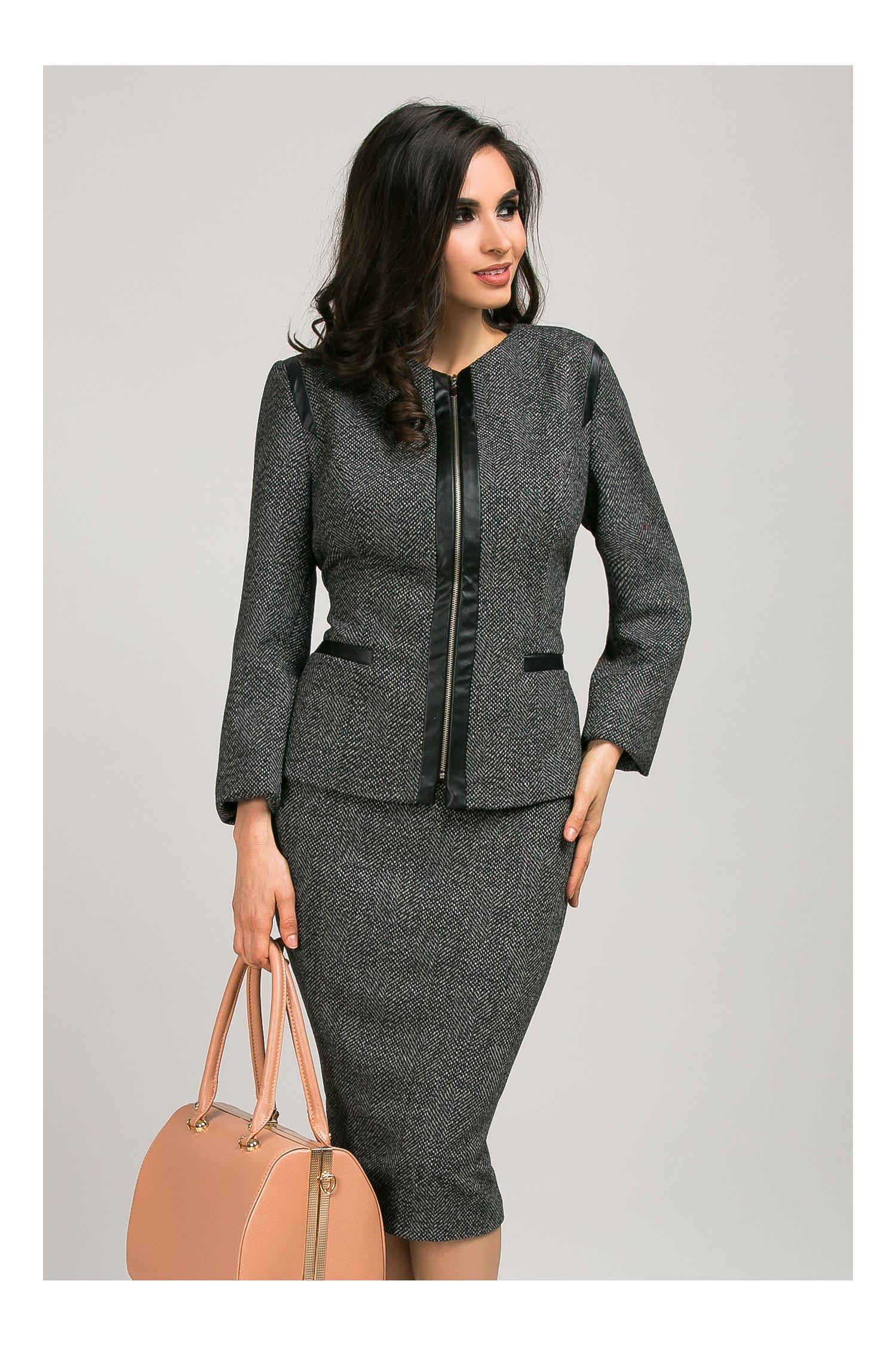 Compleu fusta jacheta gri elegant