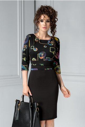 Compleu Future negru cu imprimeu colorat rochie si sacou