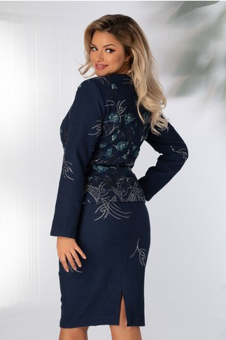 Compleu Ginette bleumarin cu imprimeu floral albastru