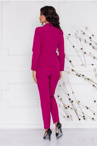 Compleu Ginette fucsia elegant cu sacou si pantaloni
