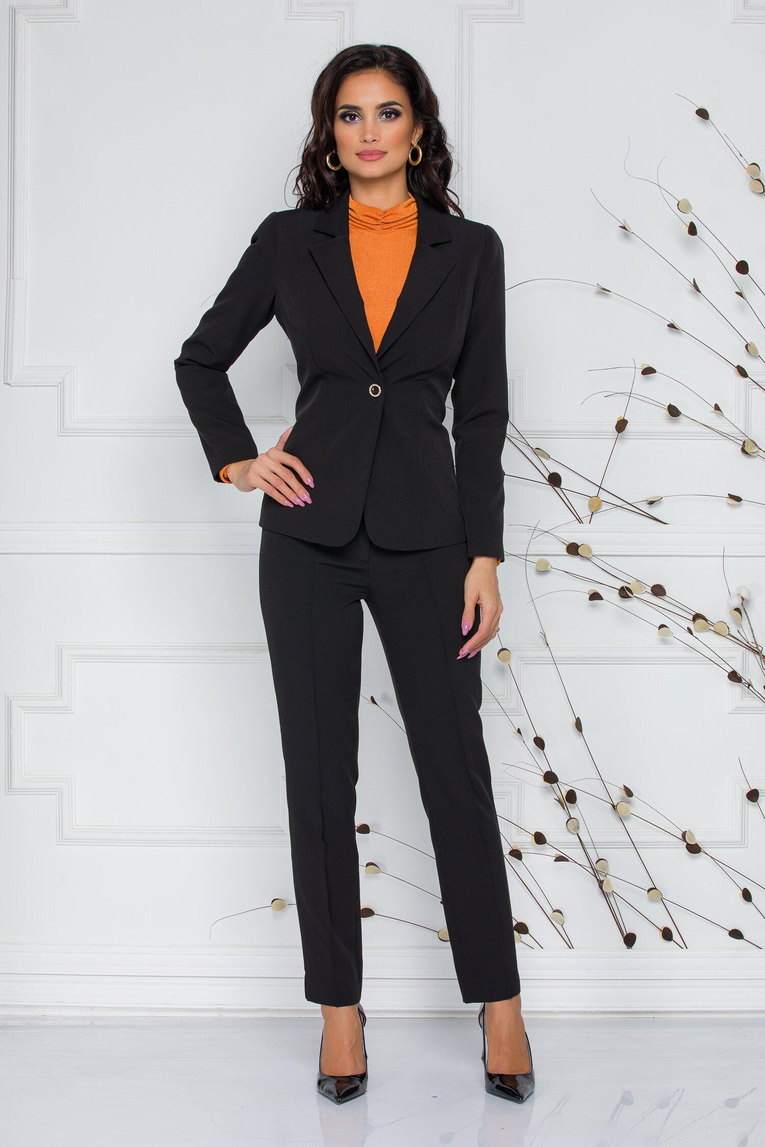 Compleu Ginette negru elegant cu sacou si pantaloni imagine