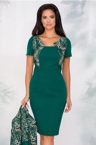 Compleu Greta verde cu imprimeu in romburi alb negru si frunze in relief