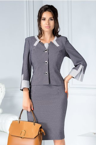 Compleu gri office din 2 piese rochie si sacou