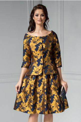 Compleu Hilda bleumarin cu imprimeu floral auriu