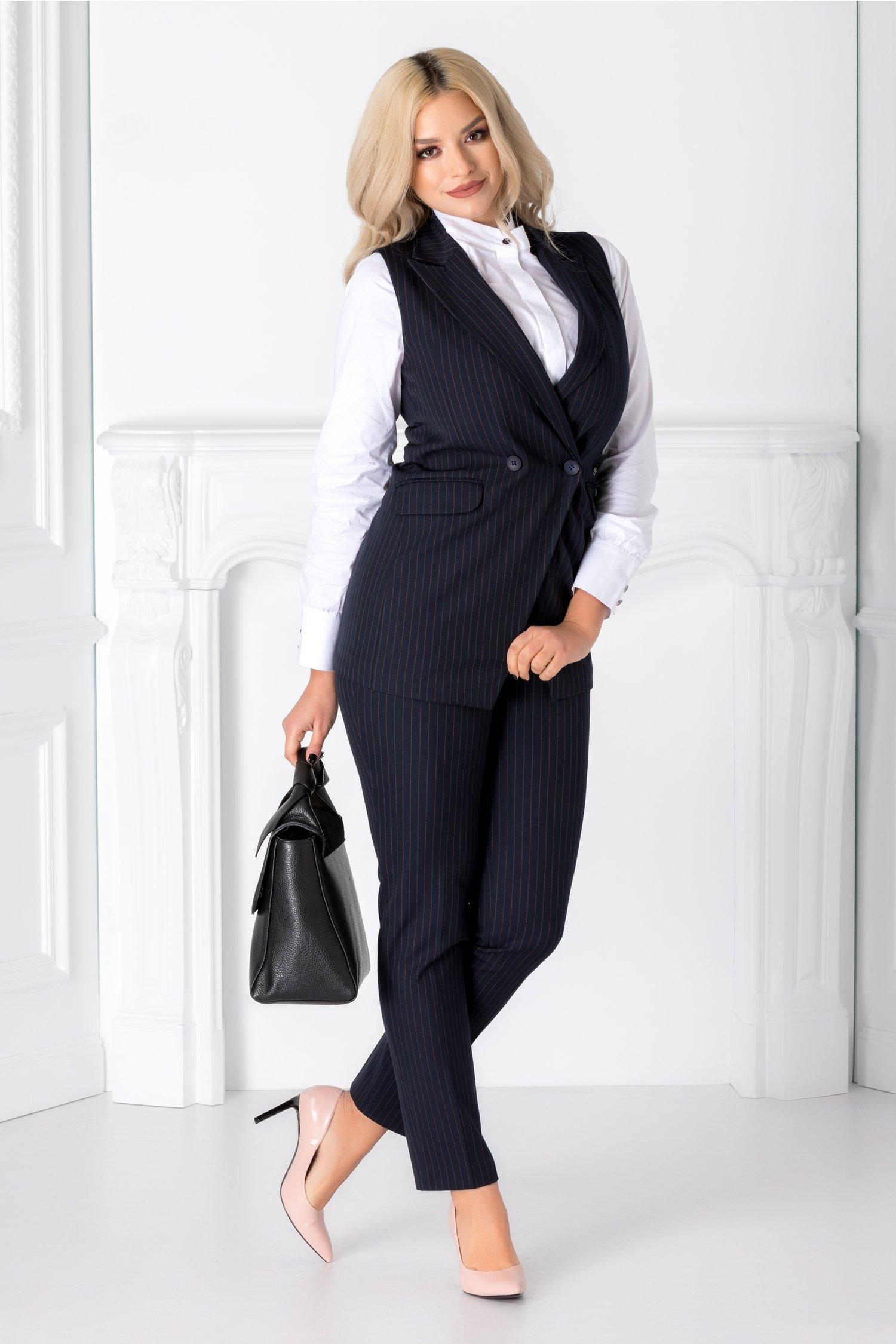 Compleu Irra cu pantaloni si vesta bleumarin cu dungi