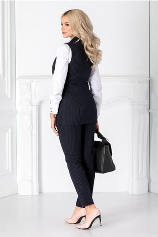 Compleu Irra bleumarin cu pantaloni si vesta cu dungi