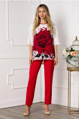 Compleu Katya cu pantaloni rosii si bluza alba cu imprimeu trandafir maxi