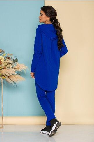Compleu Ladonna by Catalin Botezatu albastru electric cu bluza asimetrica