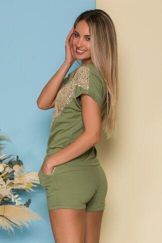 Compleu LaDonna by Catalin Botezatu kaki cu tricou si pantaloni scurti cu paiete