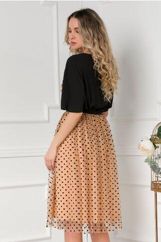 Compleu LaDonna cu fusta din tull cu buline catifelate si aplicatii pe bluza
