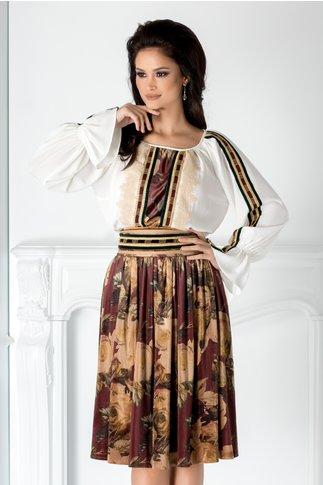 Compleu LaDonna cu fusta maro si imprimeu aramiu