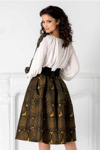 Compleu LaDonna cu fusta neagra din tafta si imprimeu galben