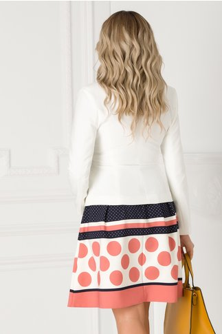 Compleu LaDonna cu sacou alb si fusta bleumarin cu buline roz