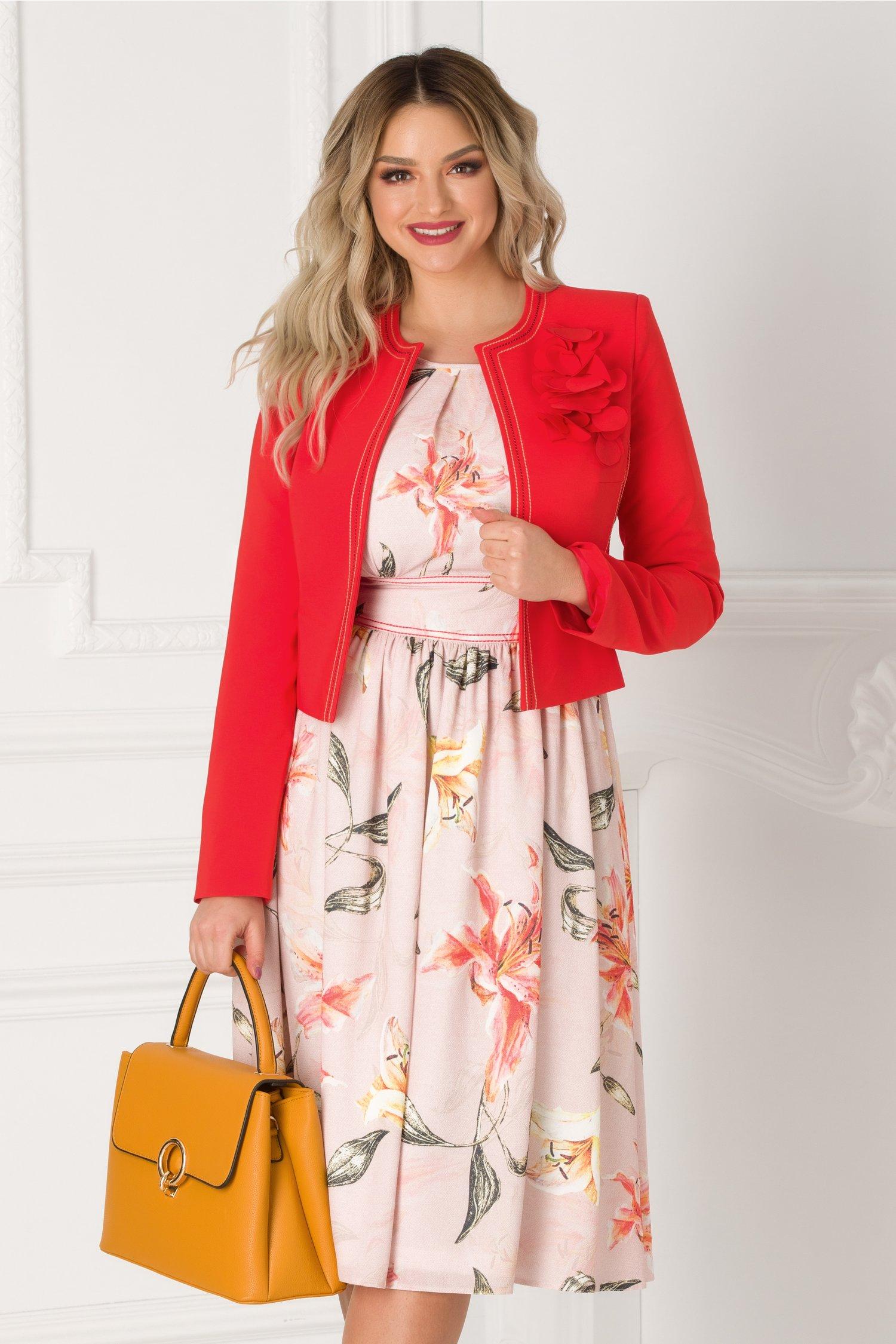 Compleu LaDonna cu sacou corai si rochie roz