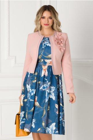 Compleu LaDonna cu sacou roz si rochie bleumarin