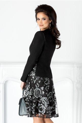 Compleu LaDonna negru cu broderie florala argintie