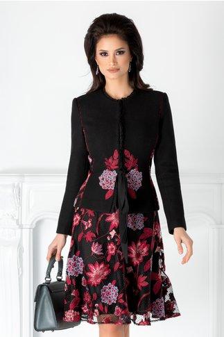 Compleu LaDonna negru cu broderie florala bordo