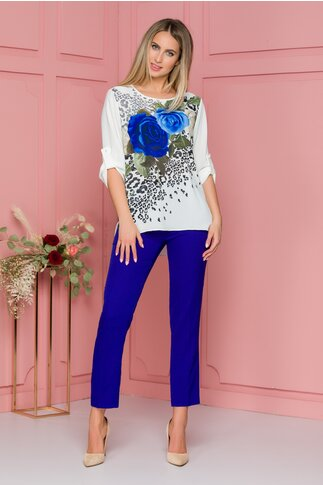 Compleu Larra cu pantaloni albastri si bluza asimetrica cu maneci reglabile