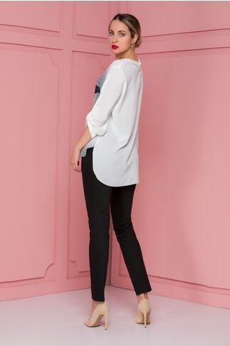 Compleu Larra cu pantaloni negri si bluza asimetrica cu imprimeu fashion