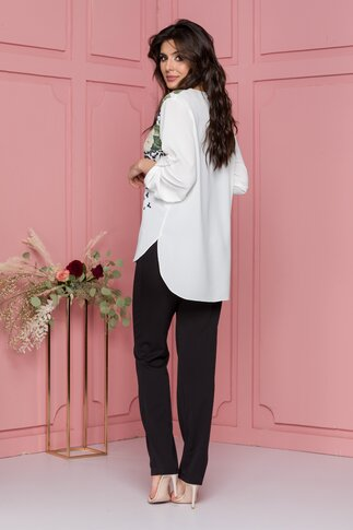 Compleu Larra cu pantaloni negri si bluza asimetrica cu maneci reglabile