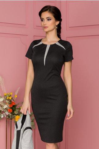 Compleu Leonard Collection cu rochie neagra si sacou cu insertii argintii