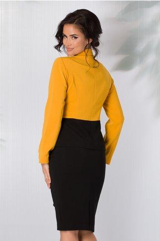 Compleu Leonard Collection galben si negru cu fermoare aplicate