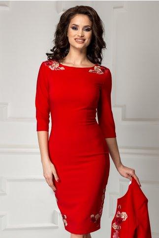 Compleu Liza rosu rochie sacou cu broderie