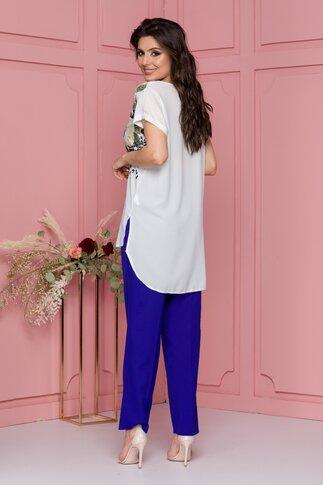 Compleu Marusia cu pantaloni albastri si bluza alba cu imprimeuri