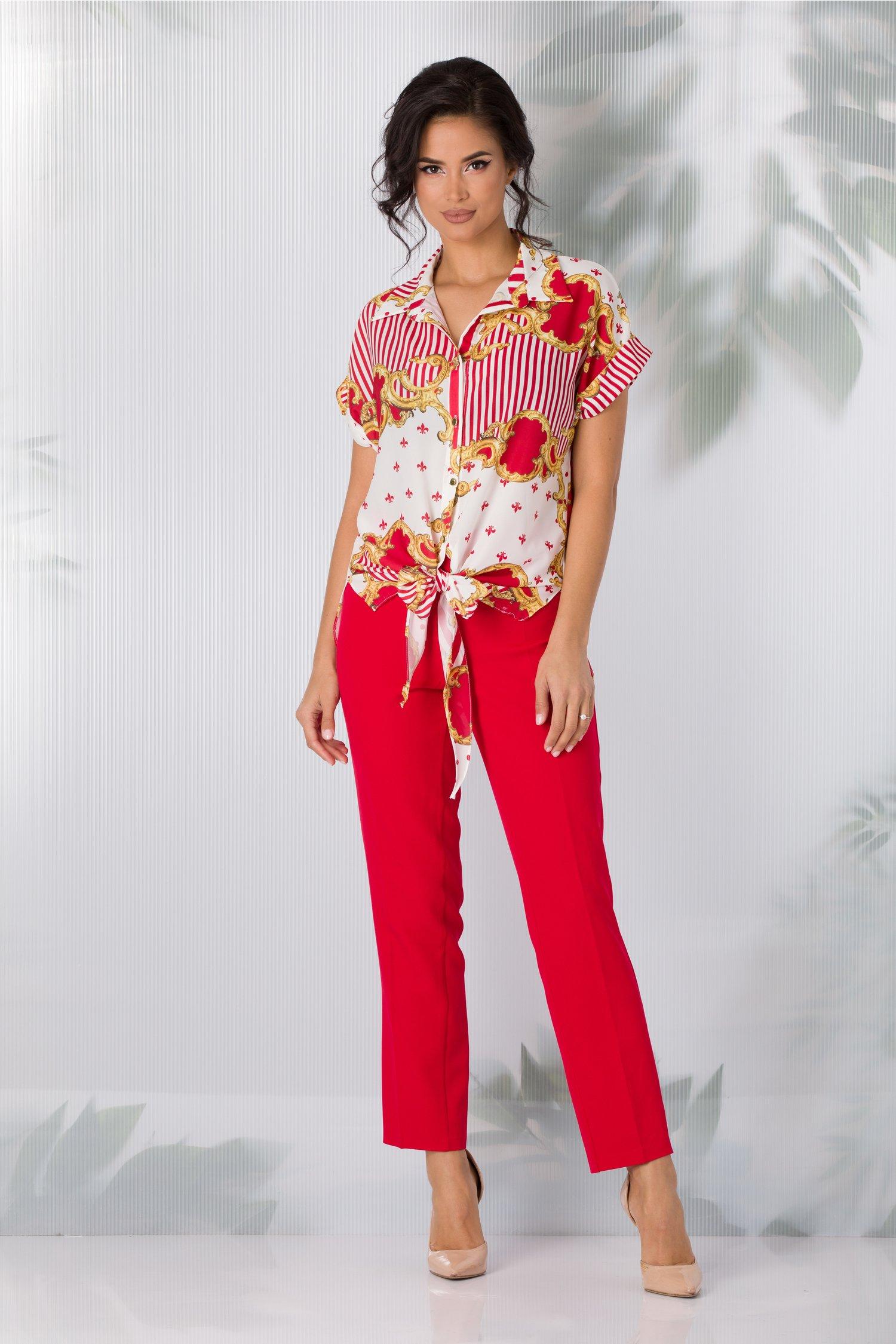 Compleu Mira cu pantaloni rosii si bluza alba cu imprimeuri