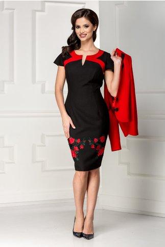 Compleu Miron rochie sacou rosu cu broderie