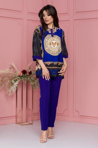 Compleu Miruna albastru cu pantaloni si bluza cu imprimeu galben